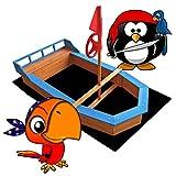 Wiltec Sandkasten Boot mit Flaggenmast 150x78x85cm Vliesboden Holzsandkasten Garten
