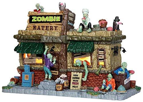 Lemax - Zombie Eatery - Zombie Fresserei - 22,2cmx15,8cmx13,2cm - Beleuchtetes Gebäude aus Porzellan- Halloween Village - Spooky Town - Dorf