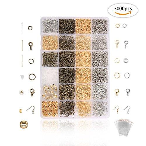 Jeteven 3000 tlg DIY Schmuckherstellung Zubehör,3 Farben Schmuck Basteln Zubehör, Kette ohrringe spaltringe verschluss für Ohrring Armband Halsketten Anfänger