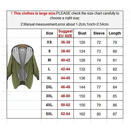 Manteau Veste A capuche Femme - hibote Coat Zipped Jacket Trench Manches Longues Automne/Hiver Noir