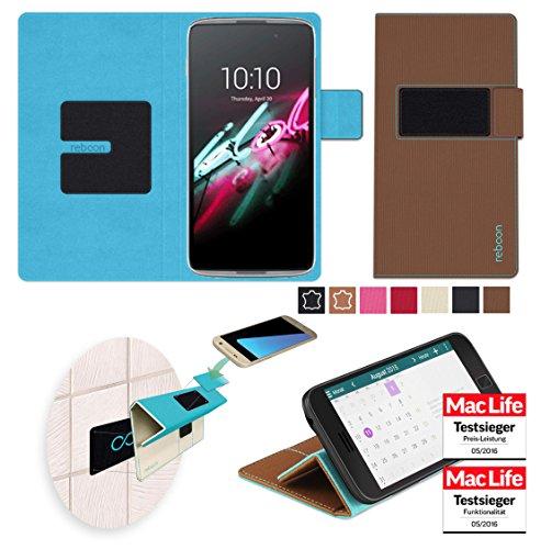 reboon Hülle für Alcatel OneTouch Idol 3 (5.5) Tasche Cover Case Bumper   Braun   Testsieger