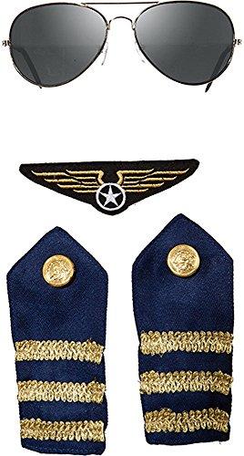 Pilot Piloten Flieger Set 4 teilig Brille Schulterklappen und Patch -
