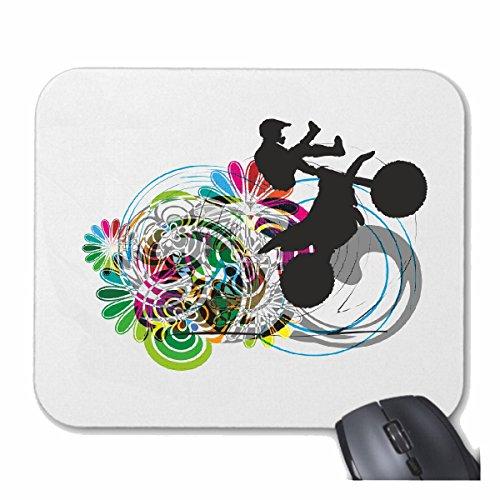 "Mousepad (Mauspad) ""MOTOCROSS SILHOUETTE VINTAGE EXTREM SPORT MOTOCROSS OUTDOOR MOTOCROSS BIKE CROSSBIKE FREESTYLE"" für ihren Laptop, Notebook oder Internet PC .. (mit Windows Linux usw.) in Weiß"