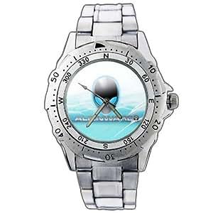 Montre-bracelet Montre Hommes cadeau Noël EPSP102 Alienware Alien Game Gaming Stainless Steel Wrist Watch