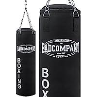 Bad Company Boxsack inkl. Heavy Duty Stahlkette I Canvas Punching Bag, gefüllt/ungefüllt I 80 x 30 cm I 100 x 30 cm