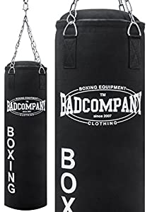 Bad Company Boxsack inkl. Vierpunkt Stahlkette I Canvas Punchingsack, gefüllt...