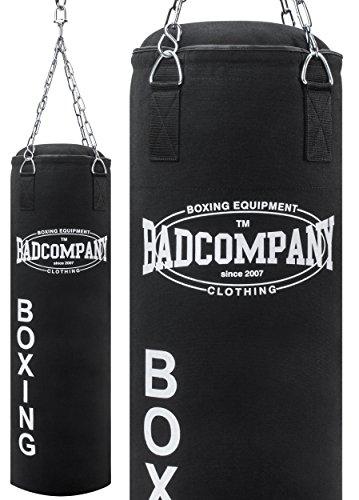 Bad Company Profi Canvas Boxsack schwarz inklusive Heavy Duty Vierpunkt-Stahlkette