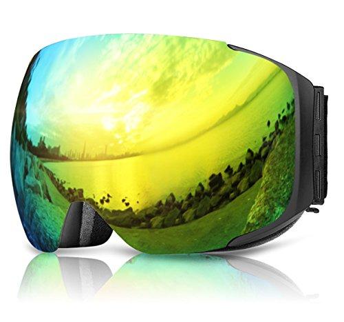 Skibrille, eDriveTech Anti Nebel Brillenträger OTG Snowboardbrille Schneebrille für Herren Damen Jugendliche Jungen Mädchen UV-Schutz Verbesserte Magnetische Austauschbare Dual Layer Sphärische Linse (Schwarz Rahmen/Gold Linse)