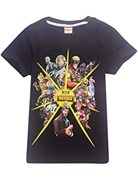 AILIENT Unisex Chico Chica T-Shirt Verano Fortnite Logo Game Icons Letras del Equipo Combat Commander Camiseta...
