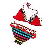 IPBEN Badeanzug Mädchen, Schlinge Bikinis für Kindere Zweiteiliger Quaste Badekleidung Schwimmanzug Bikini Sets (164, 78-Red)