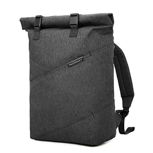 BAGSMART Herren Rucksack Laptop bis zu 15,6 Zoll, Modern Roll Top Daypack, Wasserabweisend und Hochwertig Backpack für Alltag, Reise, Schule, Uni (42 x 14 x 30 cm) Dunkelgrau