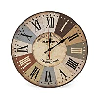 """LOHAS Home 30cm Silent Wooden Round Wall Clock, 12"""" Vintage Colorful France Paris French Country Tuscan Style Roman Numerals Design Silent Wooden Wall Clock Home Decor, 30cm (Old Town)"""