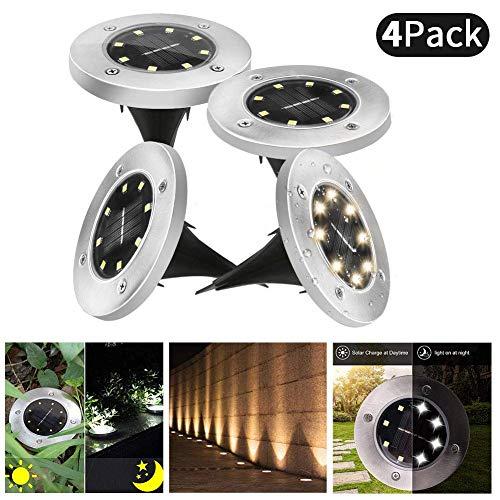 Solar Bodenleuchten Garten 8 LED Solarleuchten Solarlampe Unterirdische Licht IP65 Wasserdichtes Gartenleuchte für Draussen Garten SolarLicht Draussen Landschaft Beleuchtung von Lacyie (warm Licht)