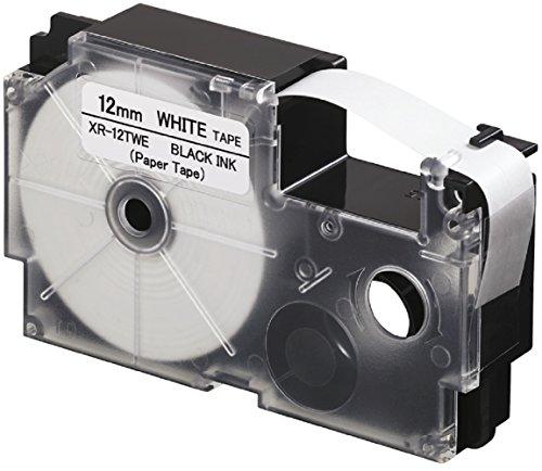 CASIO EZ-Label Printer XR-12TWE Schriftband aus Papier selbsthaftend für den Indoor-Einsatz 12 mm x 8,0 m schwarz auf weiß