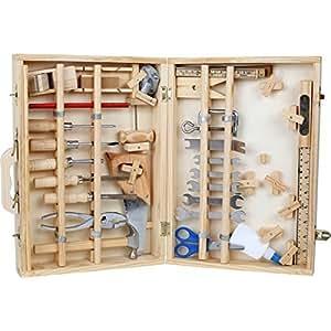 Coffret à outils complet de 44 pièces en bois et métal - idéal pour bricolage d'enfant et futur mécanicien, menuisier ou bricoleur