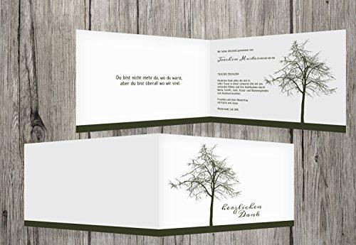 trauerkarten-druck Danksagung Beerdigung | Danksagung Trauer Tree | 10 Karten | mit Individualisierung & Umschlägen | in dunklesGrün