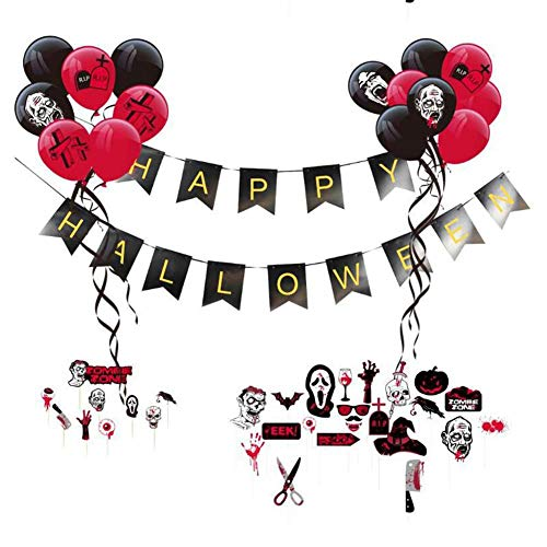Halloween Party Ballons Set Zombie Party Dekoration Ballons Halloween Party Ballons schwarz + rote Luftballons Halloween Banner Kuchen einfügen Foto Requisiten(48pieces) Hifuture