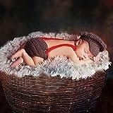 HAPPY ELEMENTS 2 niños recién nacidos de las muchachas de los bebés Crochet el traje del Knit (Rojo + gris)