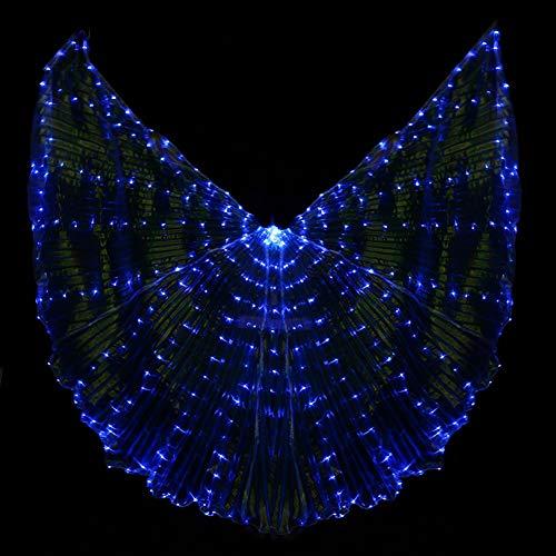Frauen LED-Licht Isis Wings Bauchtanz Kostüme Halloween Zeigt Leucht Prop Tanzen Liefert Requisiten Öffnen 360 Grad (Keine Sticks (Blue Wings Kostüm)