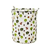 SMILEQ Waterproof Canvas Laundry Clothes Basket Container Folding Storage Barrels Box (D)