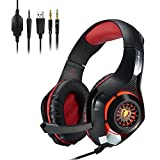 Gaming Kopfhörer, megadream PC on-live Spiel Chat Bass Stereo haeadset 3,5 mm Audio Jack LED-Licht Over-Ear Noise Cancelling Kopfhörer mit Mikrofon, Lautstärkeregler für Playstation 4 PC Laptop Tablet Phones Sony ps4,2 Farben erhältlich