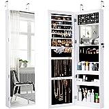 LANGRIA Schmuckschrank Hängender Spiegelschrank mit 10 LED-Leuchten, 5 Regale Aufbewahrung für Schmuck und Kosmetik (Weiß)