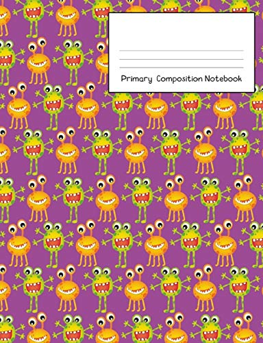 Notebook: Story Paper Journal Grades K-2 & 3 - Dashed Midline and Picture Space School Exercise Book 120 sheets. Fun Monster Cover with Purple Background. ()