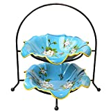 WOAINI AINIYF Süße Obstkorb Keramik Doppelschicht Obstteller Wohnzimmer Tisch Couchtisch Nuss Getrocknete Obstteller Dekoration Dekoration (Farbe: Blau)