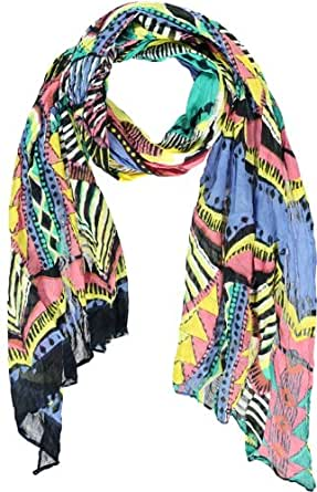 PASSIGATTI Damen Schal 44395, Gr. one size, Gelb (2-gelb-türkis)