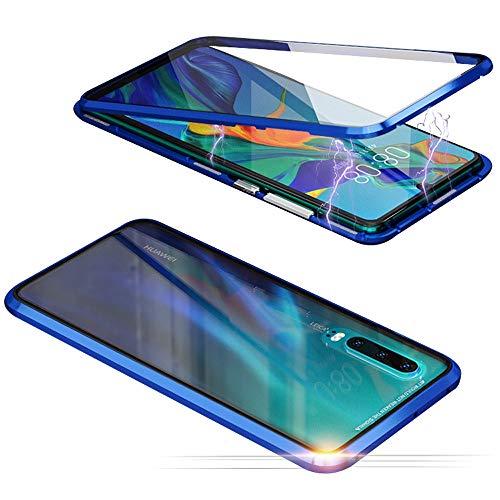 Jonwelsy Cover per Huawei P20 Lite, Adsorbimento Magnetico Paraurti in Metallo con 360 Gradi Protezione Case Doppi Lati Trasparente Vetro Temperato Flip Custodia per P20 Lite (Blu)