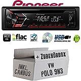 VW Polo 9N3 inkl. CanBus Interface - Autoradio Radio Pioneer DEH-S100UB - CD | MP3 | USB | Android Einbauzubehör - Einbauset
