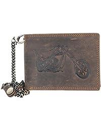 Billetera marrón Wild estilo motero de cuero naturales con cadena de metal