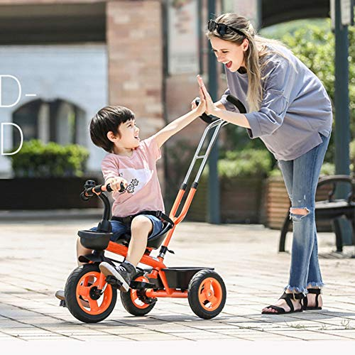 GSDZSY - Baby Child Tricycle,with Removable Push Handle Bar,Shock Absorption EVA Wheel,With Seat Belt And Bell,1.5-5 Years,White  GSDZSY