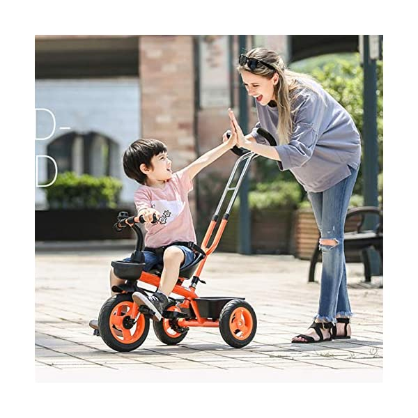 GSDZSY - Baby Child Tricycle,with Removable Push Handle Bar,Shock Absorption EVA Wheel,With Seat Belt And Bell,1.5-5 Years,White GSDZSY ❀ Material: high carbon steel + ABS + EVA, suitable for children aged 1-5 ❀ Features: The push rod can be adjusted to the height, can control the direction, suitable for people of different heights; the seat can be adjusted to facilitate the use of children of different heights; the foldable center footstool with seat belts and brakes ❀ Performance: high carbon steel frame, sturdy and durable; EVA wheel anti-slip, wear-resistant, suitable for all road conditions, good shock absorption, seat with soft material, baby ride more comfortable 3