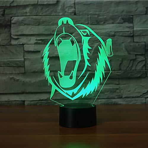 Mmzki 3D Roar Lion Nacht 7 Farbwechsel Led Tier Tischlampe Usb Baby Schlaf Licht Zubehör Home Decor Für Kinder Spielzeug Weihnachtsgeschenke