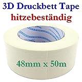Hitzebeständiges Druckbett Klebeband Tape weiß 48mmx50m