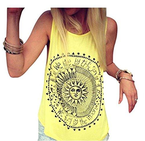 YOGLY Damen Armelloses Oberteile Frauen Sommer Locker, Sunheit Sonne Bedruckt T-Shirt Tops Lässig Gelb