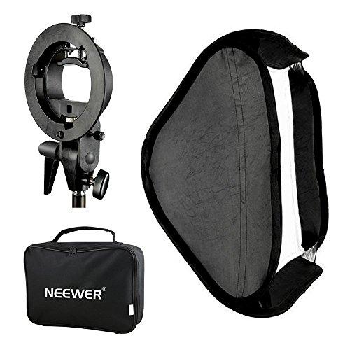 Neewer Photo Studio Multifunktionale Softbox mit S-Typ Bügel Halterung Bracket Mount und Tragetasche Set für Porträt Produktfotografie (60 x 60 cm) - Porträt-studio-blitz