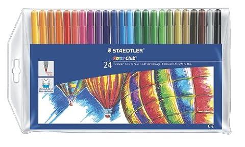 Staedtler feutres de coloriage Noris Club, largeur de trait environ 1 mm, en pochette de 24 couleurs assorties, 325 WP24