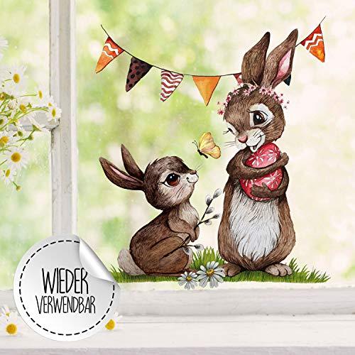 Fensterbilder Fensterbild Fuchs Reh & Hasen mit Pusteblume Osterkorb Ostern wiederverwendbar Fensterdeko bf28 - ausgewählte Farbe: *bunt* ausgewählte Größe: *2. Hasen mit Wimpel*