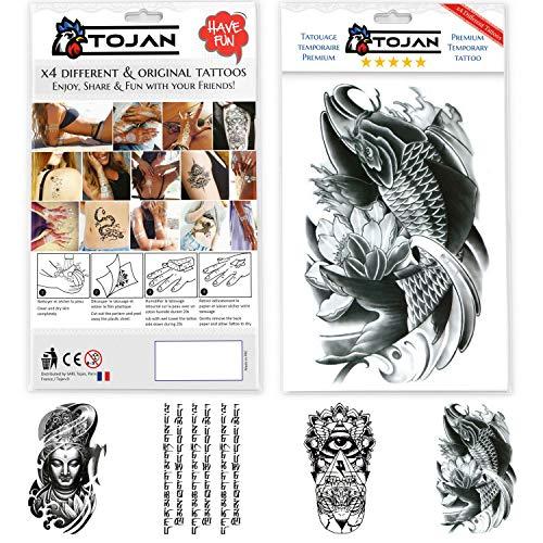 Tatuaggi temporanei adulti con inchiostro nero realistico di grandi dimensioni / confezione di 4 fogli di tatuaggi ( carpa koi/ geometrico / boudha / scrittura mistica)