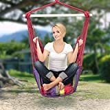 #7: Portable Hanging Rope Hammock Chair Swing for Any Indoor or Outdoor Spaces- Max- 120 kg-2 Seat Cushions,1 S-HOOK & CARRYING POUCH INCLUDED.