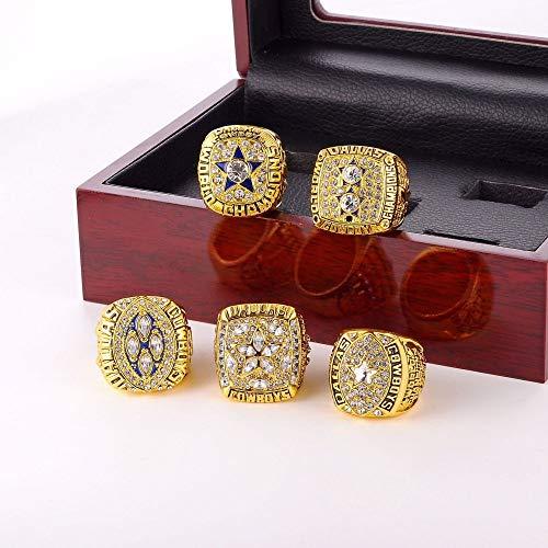 INSTO Ringe Sport Fans Sammlung Ring Herren Hoch Qualität Legierung Ring Champion Ring 5-Teilig Einstellen Fein Verarbeitung/golden/Nummer 10