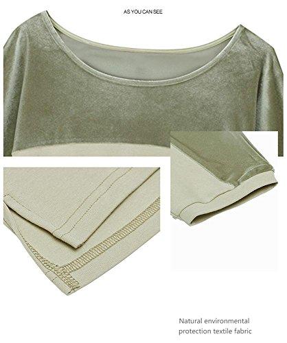 Donne Pigiama in cotone a due pezzi manica a mezza manica in seta green