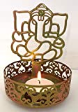 #7: Brass and Gifts Shadow Ganesh Ji Tea Light Holder for Pooja and Decoration (Golden)