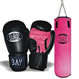 BAY® Boxset PINK Sandsack+Boxhandschuhe FUTURE schwarz/pink (8 Unzen)