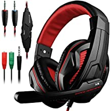 Gaming Headset DLAND 3.5mm Wired Bass Stereo Noise Isolation Gaming Headphones with Mic for Laptop ,PS4 , Black and Blue Red