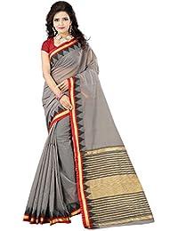 Vastra - The Factory Store Women's Cotton Saree With Blouse Piece (Vas-18, Grey, Free Size)