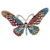 SODIAL Schwarz Schmetterling Brosche Mix Farbe Strass Broschen Für Frauen Dame Mode Schmuck Boutonniere
