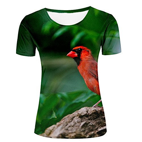 Women's Slim Fit Short Sleeve Lovely and Delicate Bird Pattern 3D Print Casual Round Neck T-Shirts Gary Tees M